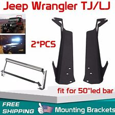 "97-06 Jeep Wrangler TJ Steel Windshield Mounting Brackets for 50"" LED Light Bar"