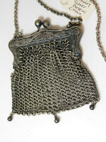 Victorian Repousse German Silver Chain Mesh Coin Purse Long Neck Chain Cb 60