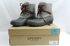 SPERRY Saltwater Wedge Tide Women's Duck Boots Grey Gray Navy NEW NIB Size 5
