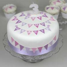 Personalised Birthday Cake Decoration Kit Topper with bunting, flowers & ribbon