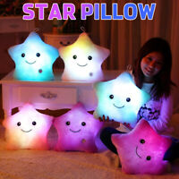 Star Pillow Glow LED Light Up Cushion Sofa Bed Plush Toy Kids Gift Home Decor