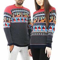 Christmas Jumper Mens Ladies Matching Sweater Sweatshirt Xmas His Hers Santa