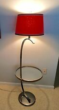 Vintage Mid Century Modern Milo Baughman Chrome Floor Lamp w Glass Table