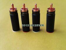 4Pc Cast Copper Red Copper Non Solder RCA Connector Plug