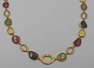 "36"" Emily Armenta  18K Gold Multi-Colored Sapphire Slice & Diamond Link Necklace"