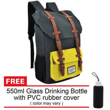Everyday Deal Travel Backpack (Grey/Yellow) + FREE Drinking Bottle