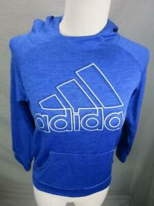 Adidas Size S(8) Boys Blue Athletic Long Sleeve w/Pockets Pullover Hoodie T983