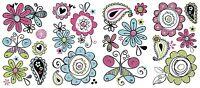 DOODLERIFIC GLITTER FLOWERS Wall Decals Butterfly Room Decor Sticker Butterflies