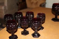 """Set of 7 Avon Cape Cod Ruby Red Wine Cordial Glasses 4-1/2"""""""