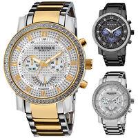 Men's Akribos AK894 Multi-Function Retrograde Day/Date Diamond Bezel Steel Watch