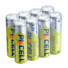 8PCS 1.2V AA 600MAH Ni-MH Rechargeable Battery for toys