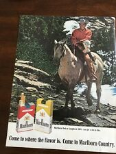 1969 VINTAGE 10X13 Print Ad MARLBORO 100'S CIGARETTES COUNTRY MAN ON HORSE CALF