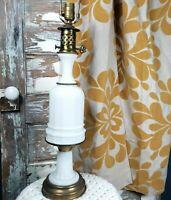 Vintage Paul Hanson White Opaline Glass Table Lamp Hollywood Regency Mid Century