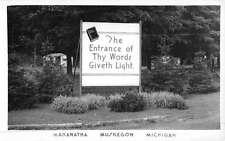 Muskegon Michigan Entrance Sign Real Photo Antique Postcard K49800