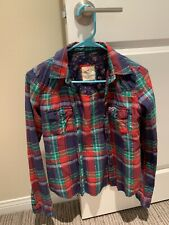 Abercrombie & Fitch Womens Red Green Plaid Long Sleeve Flannel Button Shirt XS