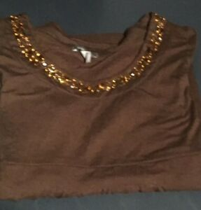 Apt 9 Stretch Brown Beaded Long Sleeve Pullover L