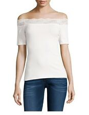 Juniors Decree Lace Trim Bodycon Top Shirt Off White Large L NWT