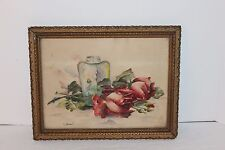 Antique Picture Frame Gold Ornate with Original Water Color Painting sign Hummel