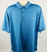 Columbia PFG Omni Shade Polo Men's Medium Vented Fishing Shirt Blue Outdoors