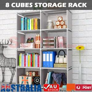 8 Cube Bookcase Bookshelf Cabinet Storage Shelf Rack Organizer Book Display Unit