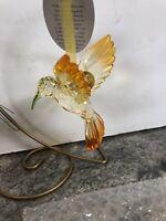 """Holiday 4"""" Christmas Ornaments HAPPY HEART HUMMINGBIRD Acrylic Dept 56 Yellow"""