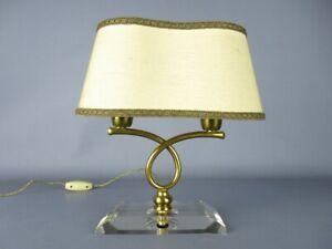 VINTAGE LAMPADA DA TAVOLO DESIGN 1950 PIETRO CHIESA IN OTTONE E VETRO
