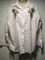 Per Una White Floral Embroidery Long Sleeve Cotton Shirt - Size 18 (132g)