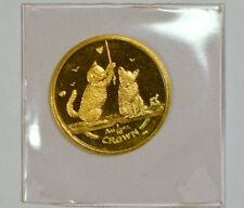 2001 Isle of Man 1/10 Crown Gem Somali Kittens gold coin in original mint holder