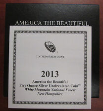 2013 WHITE MOUNTAIN NF 25c 5 ozt SILVER COIN - AMERICA THE BEAUTIFUL ATB OGP