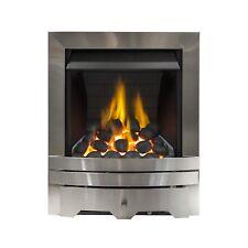 SILVER CHIMNEY COAL BRICK FIREPLACE INSET INSERT FLAME SLIMLINE MODERN GAS FIRE