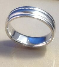 SOLID PLATINUM MENS WEDDING BAND RING, A. JAFFE, SIZE 9, 5.9MM WIDE MILGRAIN