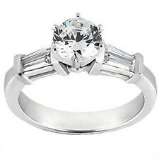Cut Diamond Accented Engagement Ring Ladies 2.15 ct. Round and Baguette
