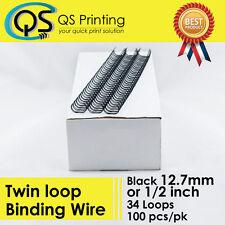 "12.7mm 1/2"" TWIN LOOP BINDING WIRE 3:1 Black 100/box"