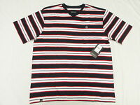 $28 NWT NEW Mens Akademiks T-Shirt Alden Striped V-Neck Tee Size 3XL 3XB 3X N127