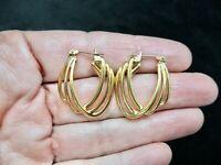 Vintage Gold Tone MONET Hoop Triple Design Pierced Earrings
