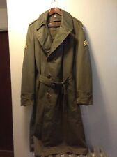 Vintage US Army Korean War Era Field Trench Coat Jacket 1953 Liner 6th Patch