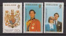 1981 Royal Wedding Charles Diana MNH Stamp Set Belize Sm Format Perf SG 614-616