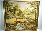 "Vintage 21 x 19"" Framed Castel amd Nature Scene  Intricate Woven Tapestry"