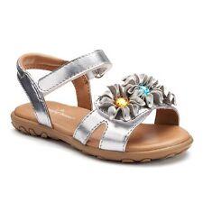 Toddler Girls Jumping Beans Silver Flower Sandal size 10 Brand New