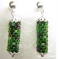 Sterling Silver Green Bead Crochet Earrings