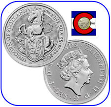 2018 Queen's Beast Unicorn of Scotland 2 oz Silver Uk Coin in direct fit capsule