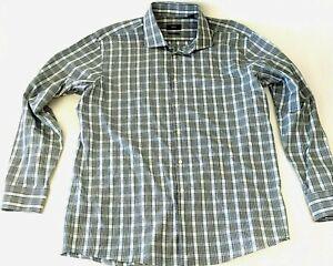 HUGO BOSS  Sz 17 34/35 SHARP FIT Light Blue/Green Checked Button Up Shirt
