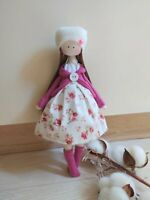 Handmade rag doll, Fabric Doll, Textile doll, Cloth Doll, stuffed doll,