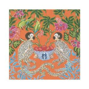 20 Paper Party Napkins Orange Monkeys Pack of  20 3 Ply Tissue Serviettes