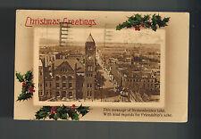 1914 Hamilton Canada Christmas Postcard Cover to USA City Hall Photo TB Cancel
