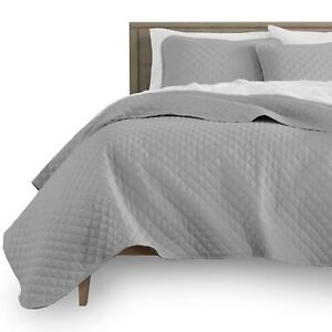 Luxury Diamond Stitch Quilted Coverlet Bedspread and Pillow Sham Set
