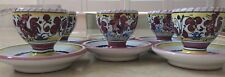 DERUTA FIMA Red Rooster (6) majolica hand painted footed egg cups new