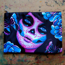 Day of the Dead Sugar Skull Girl Tattoo Cosmetic Bag Small Clutch Makeup Case
