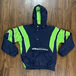 Vintage Seattle Seahawks Starter Jacket Kangaroo Pouch Men's Size Medium NICE ++