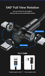 3 in 1 180°/360° Magnetic Phone Charging USB Cable for iOS Android Type-C Micro